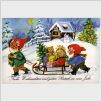 Wichtelpostkarte Weihnachtsschlitten